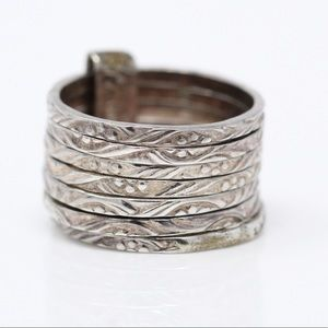 MEXICO VINTAGE Sterling Stacked 7-Bands Ring 5.5